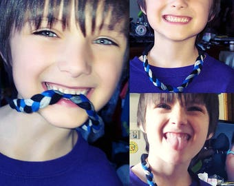 Chewing Necklace or Bracelet - fabric chew band, sensory, Aspergers, autism, ADHD, special needs, fun