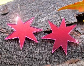 Jem Earrings, Jem Cosplay Earrings, Jem and the Holograms, Shiny Pink Star Stud Post Costume Earrings
