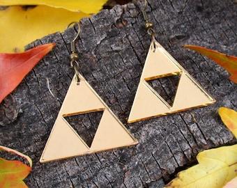 Legend of Zelda Gold Triforce Earrings, Link Zelda Costume Cosplay, Hypoallergenic Big Golden Triforce Pyramid Jewelry