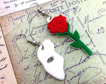 Phantom of the Opera Mask and Rose Mismatch Earrings, Theater Musical Stage Jewelry