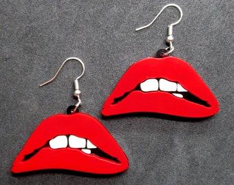 Biting Lower Lip Statement Pendant Earrings, Red Sexy Lips, RHPS, Rocky Horror Lips Goth Dangle Earrings