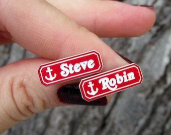 Steve & Robin Scoops Ahoy Name Badge Stud Earrings, Stranger Things Fan Jewelry Costume Cosplay Accessories