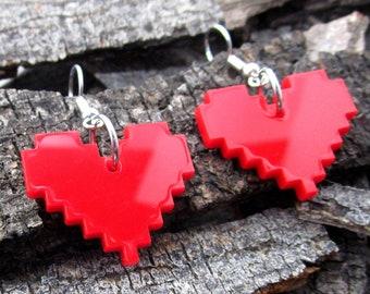 Red 8 Bit Game Pixel Heart Earrings, Stainless Steel Dangle Earrings, Heart Container Zelda Undertale Minecraft Cosplay