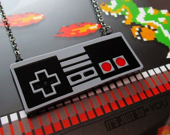 Retro NES Video Game Controller Statement Pendant Necklace Vintage Gamer Girl Jewelry