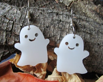 49a6f8d9b Happy Ghost Dangle Earrings, Smiling Kawaii Cute Ghosts, Halloween  Statement Earrings