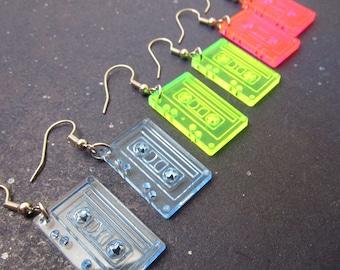 Retro Tape Cassette Earrings, 80s Neon Pink, Green & Blue Dangle Tape Earrings, Dance Party Rave Jewelry