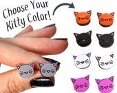 Colorful Kitty Cat Painted Wood Stud Earrings, Choose Color, Cat Lover Face Silhouette Whiskers Jewelry