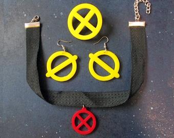 Jubilee Cosplay Jewelry Set, Earrings Choker Necklace Brooch, X-Men X Symbol Emblem, Costume Jewelry