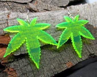 Big Neon Green Pot Leaf Dangle Earrings, 420 Weed Marijuana Rave Club Jewelry, Glows in Black Light