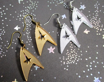 Starfleet Federation Command Insignia Logo Earrings in Gold OR Silver,  Hypoallergenic Hook and Clip On Options