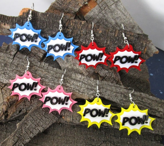 POW Comic Book Action Bubble Dangle Earrings Red Pink Blue