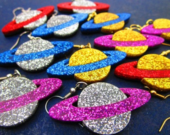 Big Glitter Saturn Ring Planet Dangle Earrings, Outer Space Galaxy Ringed Planet Moon Glitter Statement Earrings