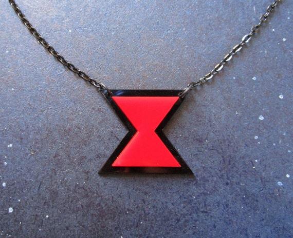 Black Widow Necklace, Hourglass Symbol Logo, Spider Costume, Goth Pendant Necklace
