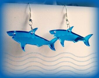 Great Blue Shark Earrings, Shark Week, Mirrored Blue Acrylic, Jaws Costume