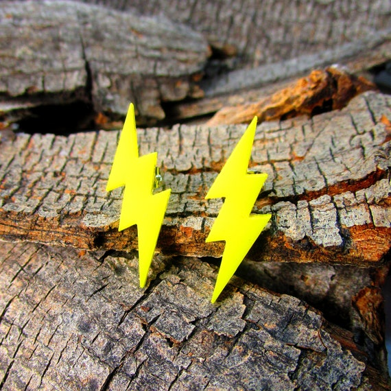 Yellow Flash Lightning Bolt Symbol Pendant Stud Earrings Etsy