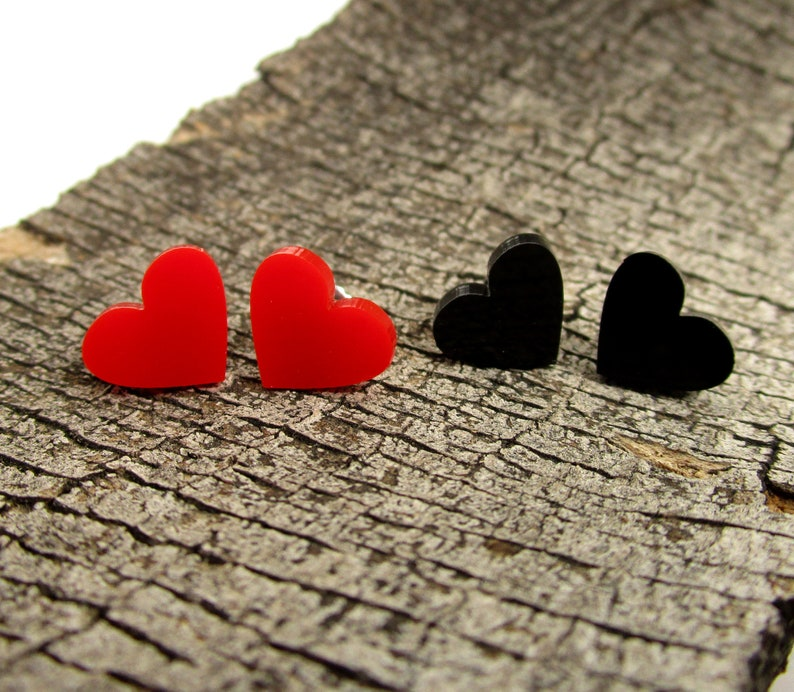 91f3ad74dded5 Red and Black Heart Stud Earrings SET - 2 Pair - Valentine's Day Love  Jewelry