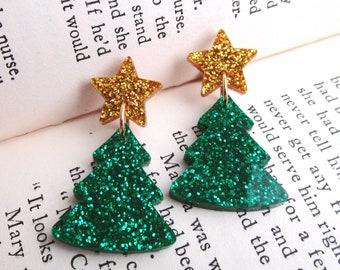 Gold Glitter Star Christmas Tree Stud Earrings, Shiny Christmas Star Tree Ornament Dangle Earrings