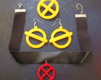 X-Men Jubilee Costume Accessory Cosplay Jewelry Set Earrings, x Logo Necklace & X-Men Brooch, Jubilee Cosplay, Jubilee Earrings