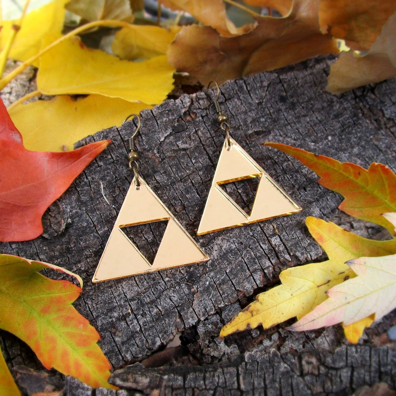 Legend of Zelda Gold Triforce Earrings Link Zelda Costume image 0