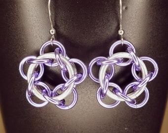 Star Flower Dangle Earrings Lavender