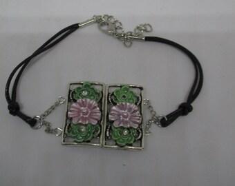 Leather and Floral Bracelet