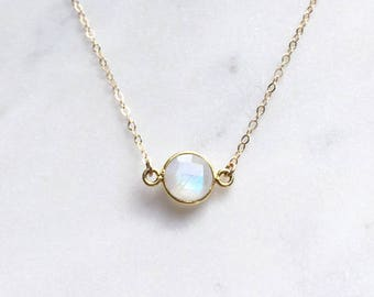 Rainbow Moonstone necklace, Raw gemstone iridescent jewelry, Delicate Minimalist necklace, Bridesmaid necklace, Made in Australia shop