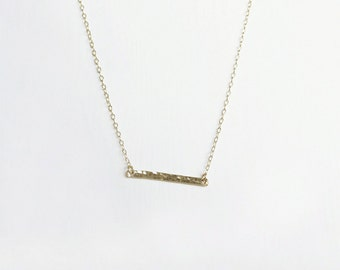 Gold Bar Necklace, Hammered bar necklace, Simple gold filled necklace, Minimalist Jewelry Bridesmaid proposal, Australian seller, SHAZOEY