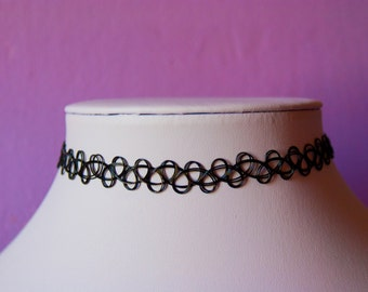 Tattoo Choker Black Necklace Retro 90s / For Her