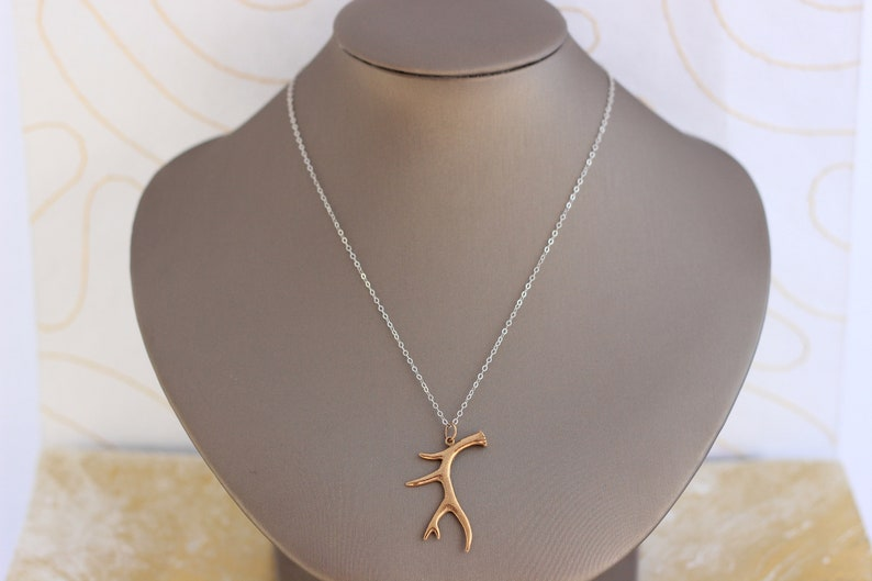 Helen Wang Jewelry Necklace Bronze Antler on Sterling Silver Chain