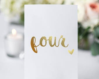 real foil table numbers