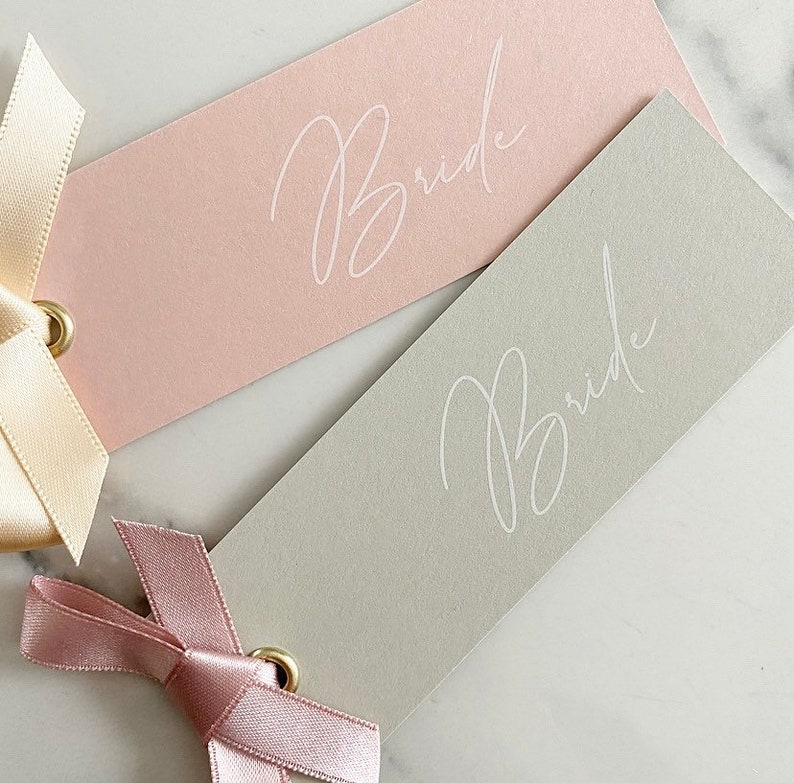 White ink pink or grey place card tags white simple per tag