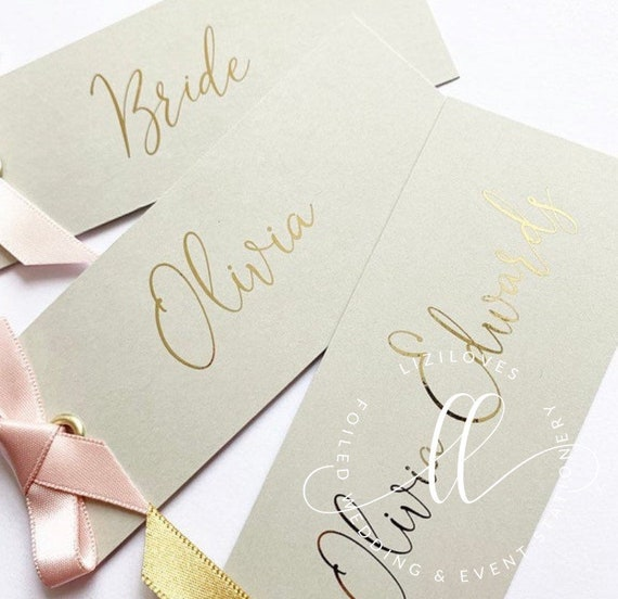 Scratch card foiled place card holders