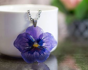 Pansy necklace translucent, made by hand in GB. Comes in a jewellery box.