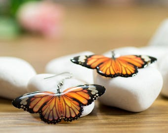 Tiger orange butterfly earrings. In gift box. Looks like real monarch butterfly.  Made in UK.
