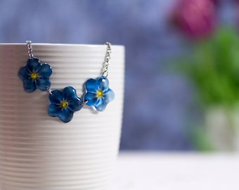 Handmade Forget-me-not necklace, translucent. Comes in a gift box.