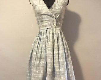 1950s Extra Small Sky Blue Dress