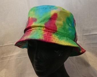 Handmade Tie Dye Bucket Rave Hat Rainbow Multi Colour Festival f3b9f141e8a