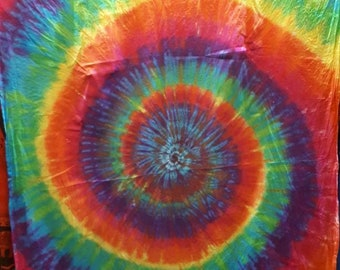 Tie Dye Tapestry Wall Hanging Psychedelic Rainbow Spiral 150x220cm Handmade 18a20fb3a