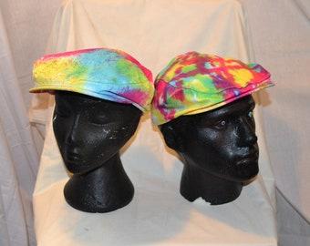 66be2b7e1b5 Handmade Tie Dye Flatcap Gatsby Newsboy Rave Hat Rainbow Multi Colour  Festival