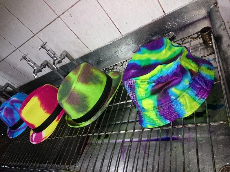 9ce71493068 Handmade Tie Dye Bucket Rave Hat Rainbow Multi Colour Festival