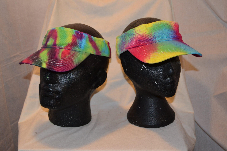b7ef3defa85 Handmade Tie Dye Visor Cap Rave Hat Rainbow Multi Colour