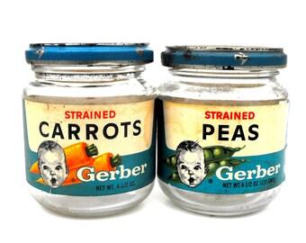 1960s Gerber Baby Food Jars Vintage Peas & Carrots Vegetables Veggies Set of 2 Pair Retro Highchair Kitchen Nursery Decor Gift Mini Storage