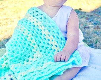 Aqua & Cream Granny Square Afghan Baby Seafoam Green Mint Swaddling Blanket Pastel Nursing Cover Shower Gift Nursery Cradle Bassinet Bedding