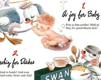1944 Swan Soap Baby & Columbia Records Adolf Busch Violin Ad Vintage Bathroom Laundry Room Kitchen Art Lather Mother Goose Gift Shower Decor