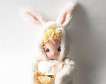 1985 Precious Moments Easter Bunny Baby Doll Stuffed Animal Spring Gift White Rabbit Plush Pajamas Egg Basket Blonde Blue Eyes Applause Toy