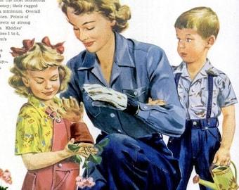 1949 Blue Bell Work and Play Clothes & Puerto Rican Rum Liquor 40s Advertisement Vintage Garden Decor Mother Children Wall Art Gardener Gift