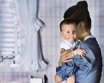 1946 ScotTissue Baby Advertisement Print Ad Poster Bathroom Baby Shower Mother Children Child Boy Nursery Blue White Wall Art Home Decor