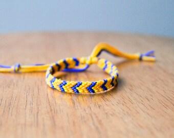 Friendship Bracelet Mustard, Yellow and Blue Tribal Chevron Woven Bracelet Stocking Stuffer