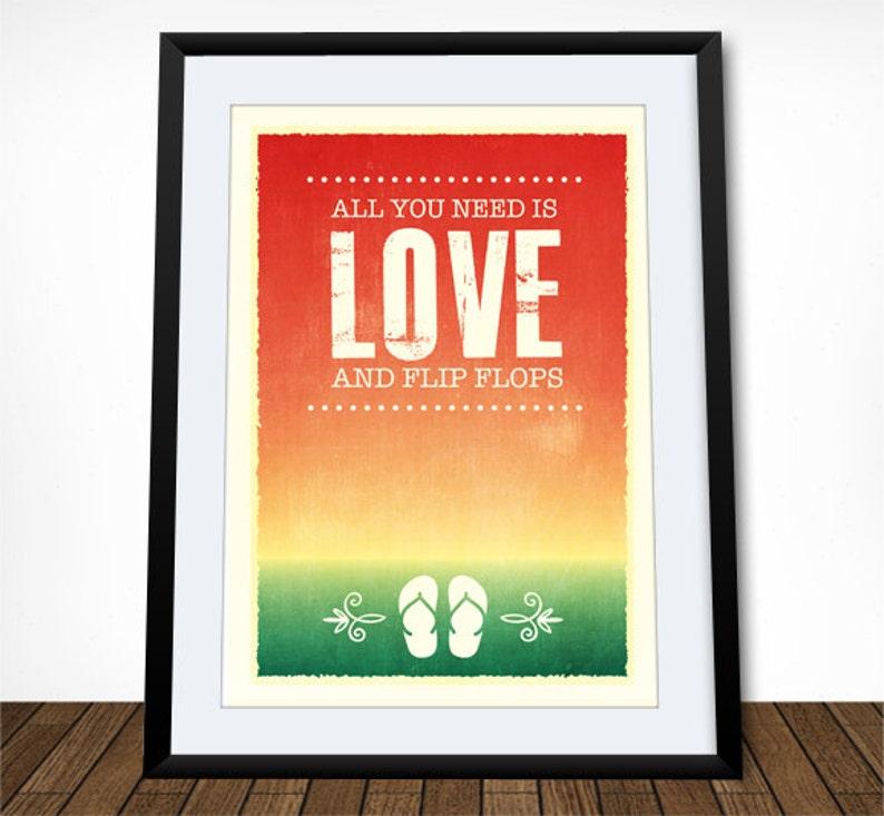 8225f6bcd0162 Beach Decor Flip Flop Print Coastal Art Boho Print Summer