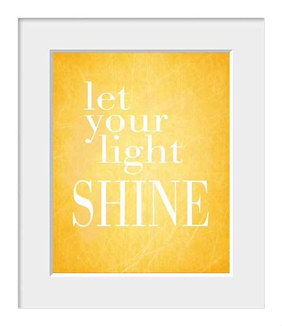 Let Your Light Shine Inspirational Quote Home Decor Yellow Etsy